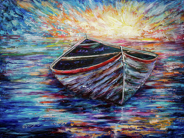 Painting - Wooden Boat At Sunrise  by OLena Art - Lena Owens