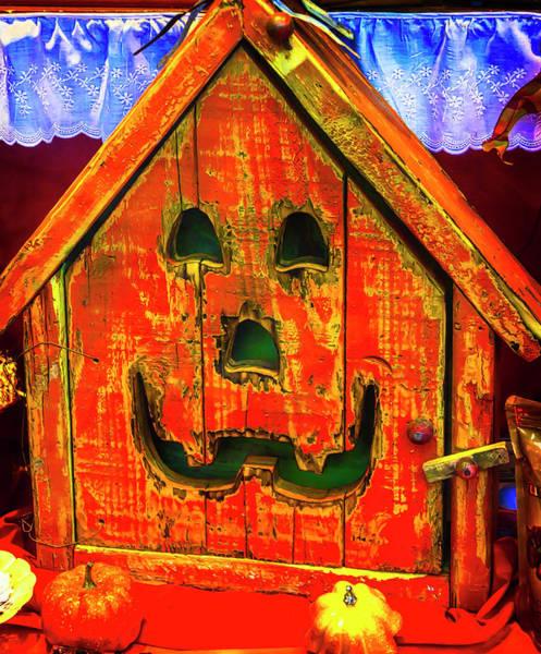 Wall Art - Photograph - Wooden Box Pumpkin Face by Garry Gay