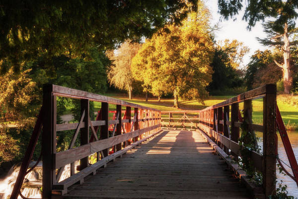 Photograph - Wooden Bridge On The Rye Water - Maynooth, Ireland by Barry O Carroll