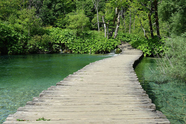Photograph - Wooden Bridge Over A Pond In Plitvice National Park With Retro S by Brandon Bourdages