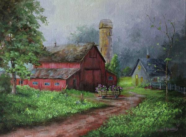 Painting - Wooden Cart by Judy Bradley