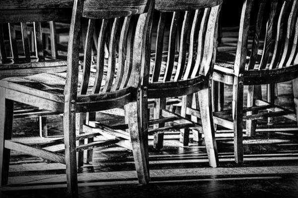 Photograph - Wooden Chair Patterns Of Light And Shadow In Black And White by Randall Nyhof