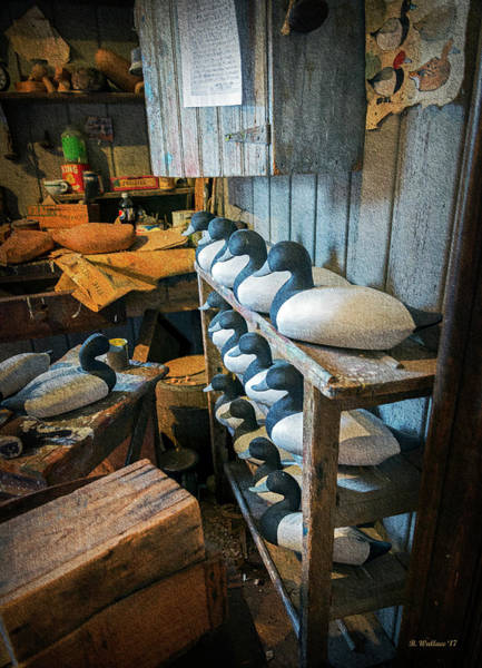 Shelves Mixed Media - Wooden Decoys - Textures by Brian Wallace