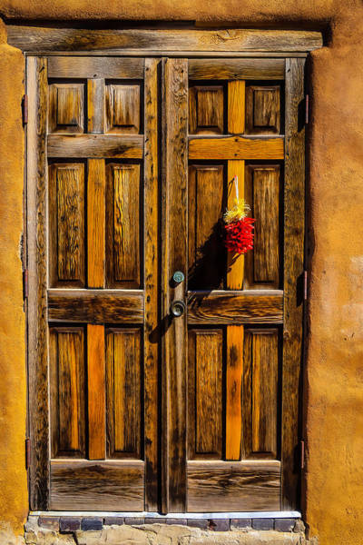 Wall Art - Photograph - Wooden Door With Red Chiiles by Garry Gay