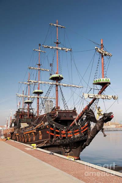 Wall Art - Photograph - Wooden Dragon Vessel In Gdynia by Arletta Cwalina