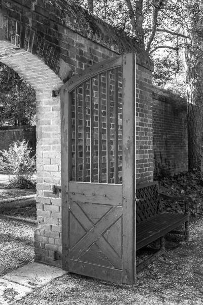 Williamsburg Photograph - Wooden Garden Door B W by Teresa Mucha