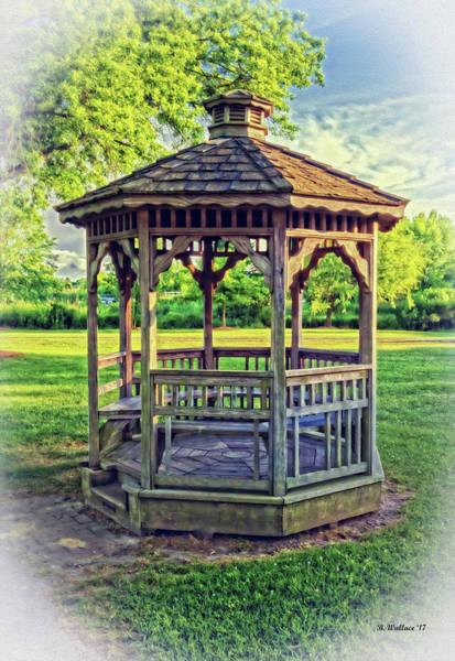 Park Bench Mixed Media - Wooden Gazebo by Brian Wallace