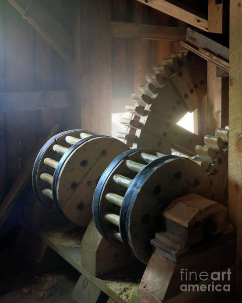 Photograph - Wooden Gear Train by Martin Konopacki