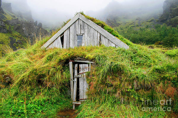 Abode Photograph - Wooden House Isolated With Grass In Iceland by Patricia Hofmeester