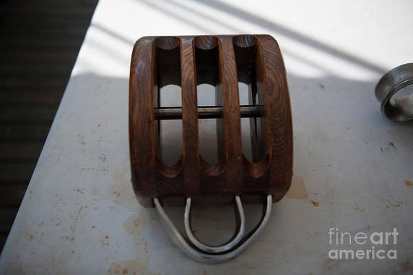Photograph - Wooden Line Block Off Tall Ship by Dale Powell