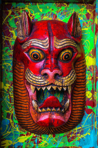 Wall Art - Photograph - Wooden Red Cat Mask by Garry Gay