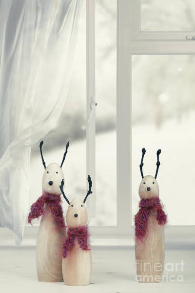 Wall Art - Photograph - Wooden Reindeer Sitting In The Window by Amanda Elwell