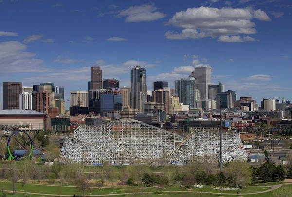 Mile High City Photograph - Wooden Rollercoaster With Downtown Denver Skyline In The Spring  by Bridget Calip