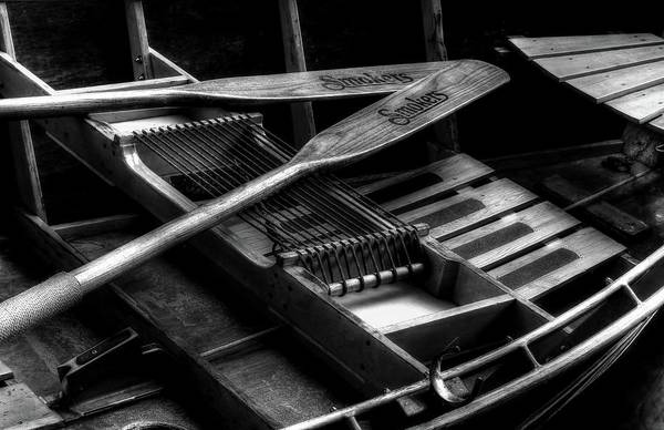 Photograph - Wooden Rowboat And Oars In Black And White by Carol Montoya