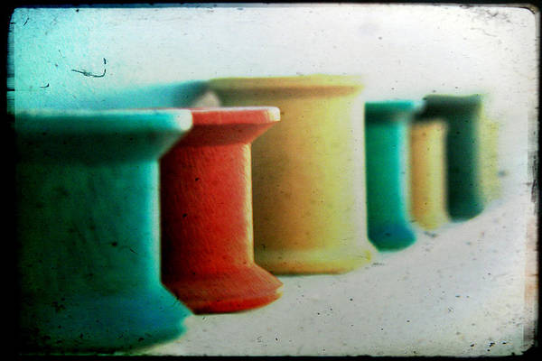 Wall Art - Photograph - Wooden Sewing Spools by Toni Hopper