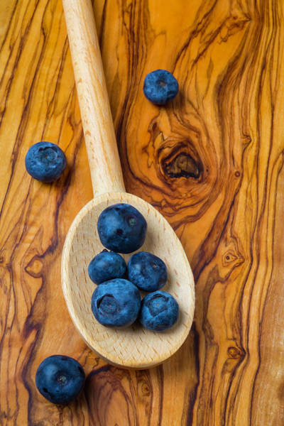 Blue Berry Photograph - Wooden Spoon And Blueberries by Garry Gay