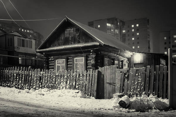 Photograph - Wooden Village Home In Night Winter Snow by John Williams