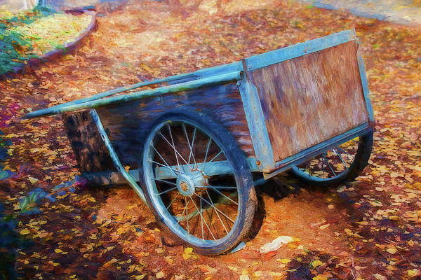 Wagon Wheel Digital Art - Wooden Wheelbarrow by Terry Davis