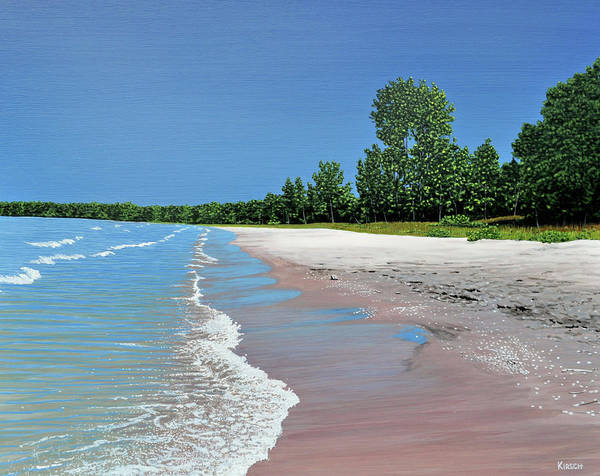 Wave Breaking Painting - Woodland Beach by Kenneth M Kirsch