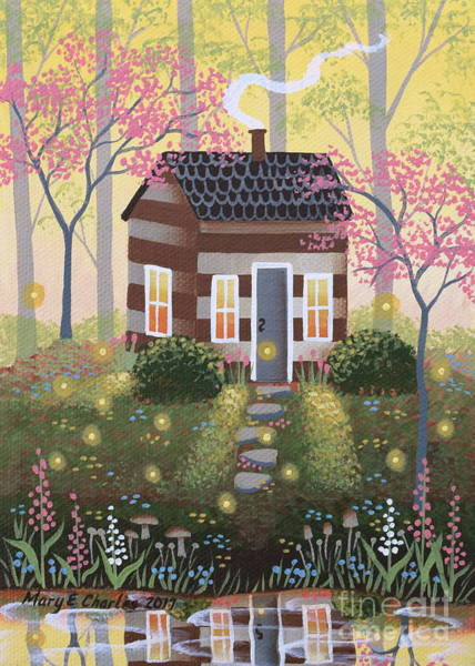 Dogwood Painting - Woodland Cabin by Mary Charles