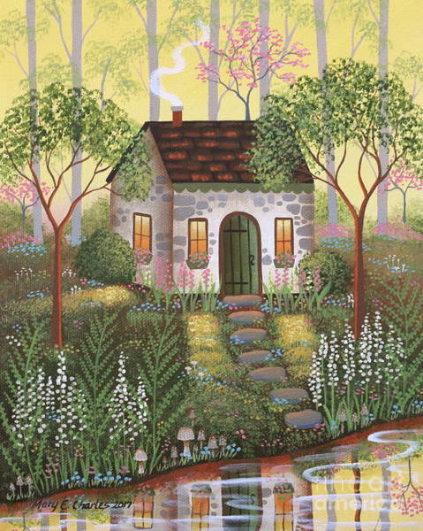 Dogwood Painting - Woodland Cottage by Mary Charles