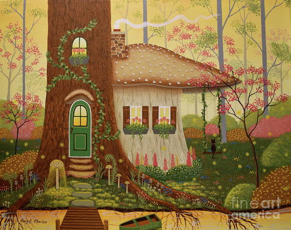 Mushroom Painting - Woodland Dream Home by Mary Charles