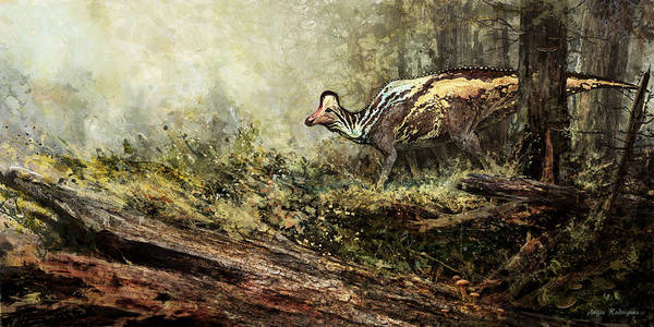 Primeval Painting - Woodland Encounter - Corythosaurus by Angie Rodrigues