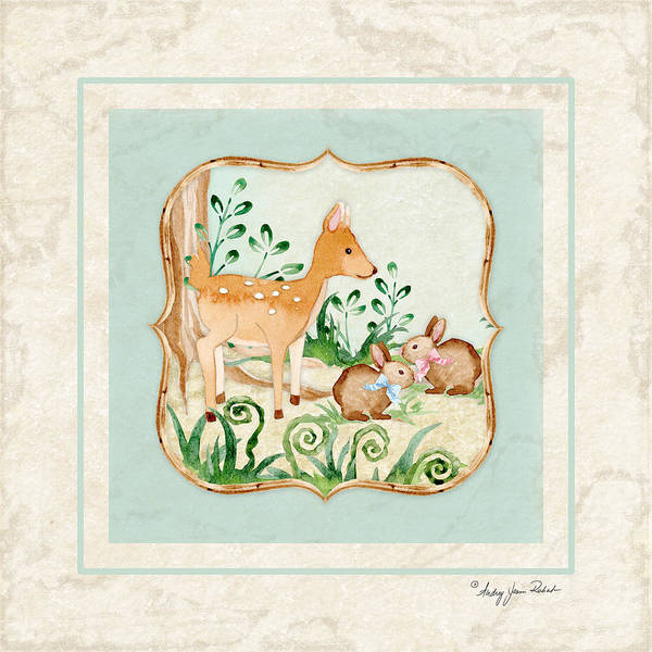 Deer Wall Art - Painting - Woodland Fairy Tale - Deer Fawn Baby Bunny Rabbits In Forest by Audrey Jeanne Roberts