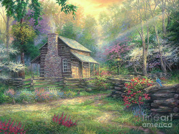 Dogwood Painting - Woodland Oasis by Chuck Pinson