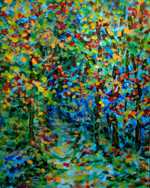 Wall Art - Painting - Woodland Path - Autumn by Laura Heggestad