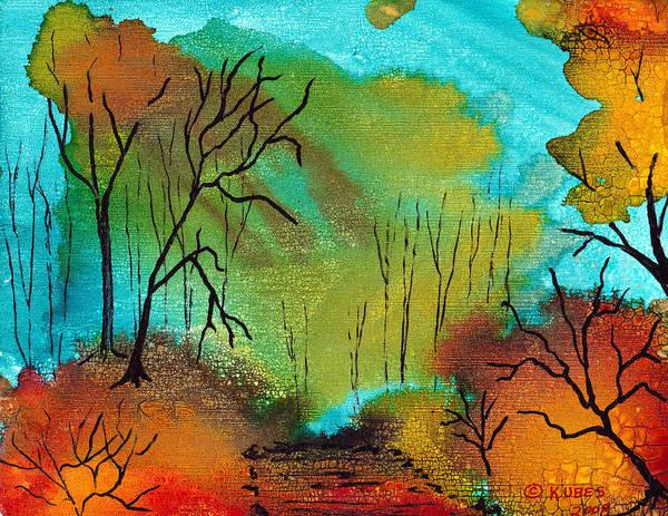 Wall Art - Mixed Media - Woodland Path by Susan Kubes