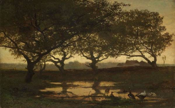 Painting - Woodland Pond At Sunset  Gerard Bilders, C. 1862 by Artistic Panda