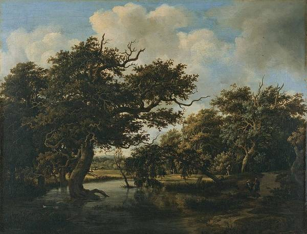 Painting - Woodland Pond Ca  1660   1663 By Meindert Lubbertsz  Hobbema by Artistic Panda