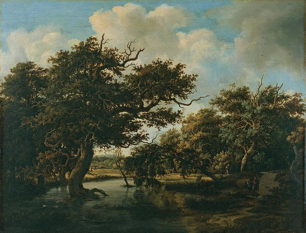 Wall Art - Painting - Woodland Pond by Meindert Lubbertsz