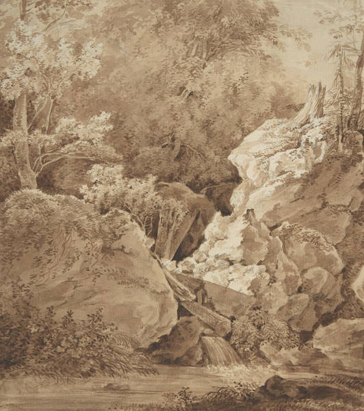 Woodland Drawing - Woodland Scene With Mountain Stream by Johann Georg von Dillis