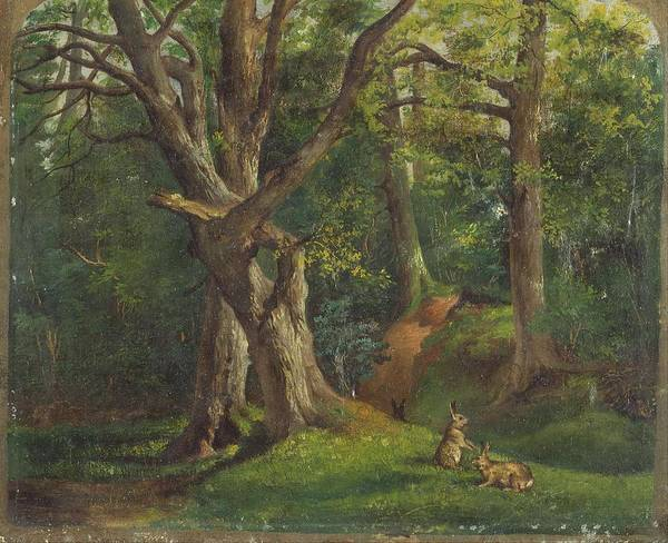 Painting - Woodland Scene With Rabbits By Hubert Von Herkomer by Artistic Panda