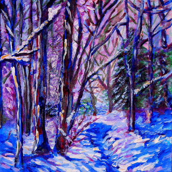 Wall Art - Painting - Woodland Snow by Laura Heggestad