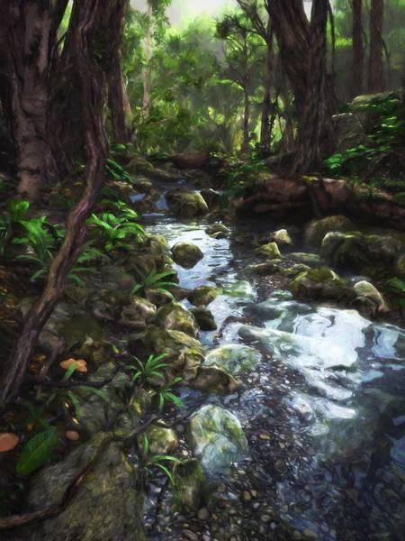 Water Plant Digital Art - Woodland Stream by Cynthia Decker
