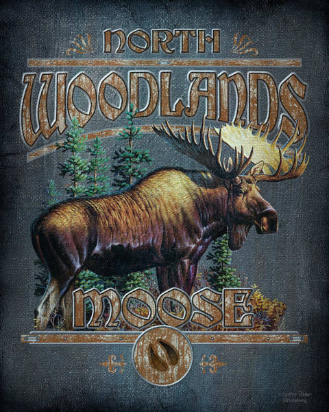 North American Wildlife Wall Art - Painting - Woodlands Moose Sign by JQ Licensing