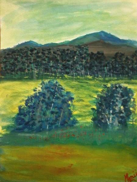 Mustard Field Painting - Woods Beyond The Mustard Fields by Monii Nandy