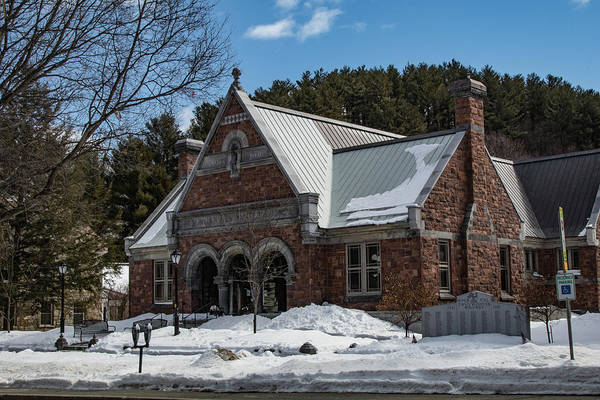 Photograph - Woodstock Vermont Public Library In Winter 1 by Jeff Folger