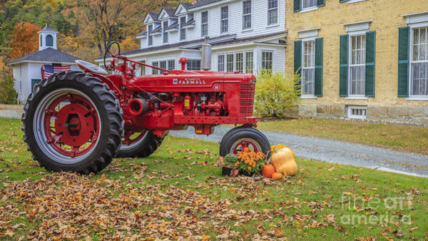 Big Red Photograph - Woodstock Vermont Red Tractor by Edward Fielding