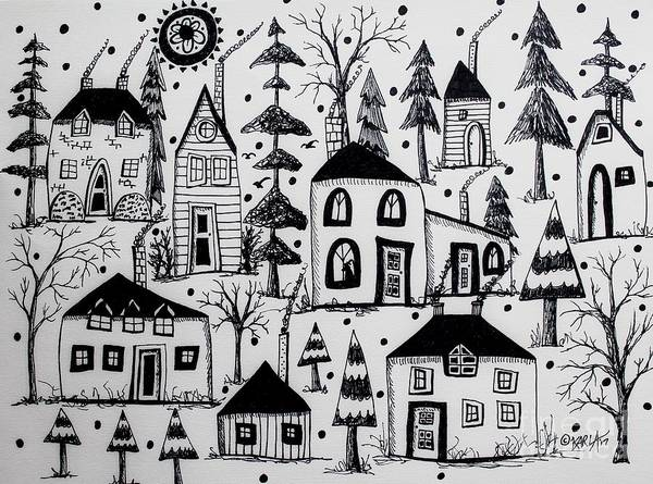 Ink Pen Drawing - Woodsy Village by Karla Gerard