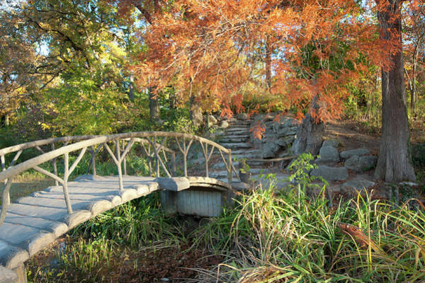 Photograph - Woodward Park Bridge In Autumn - Tulsa Oklahoma by Gregory Ballos