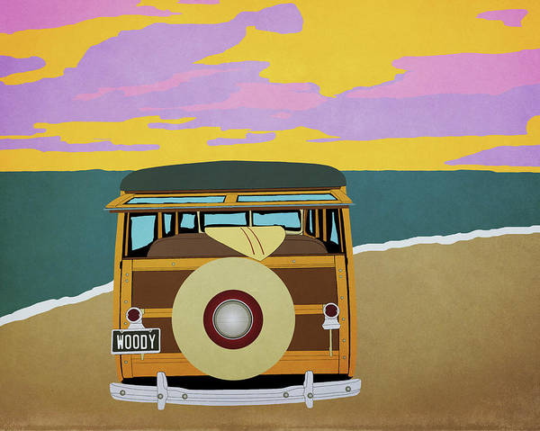 Ford Van Photograph - Woody At The Beach 1 by Emily Kay