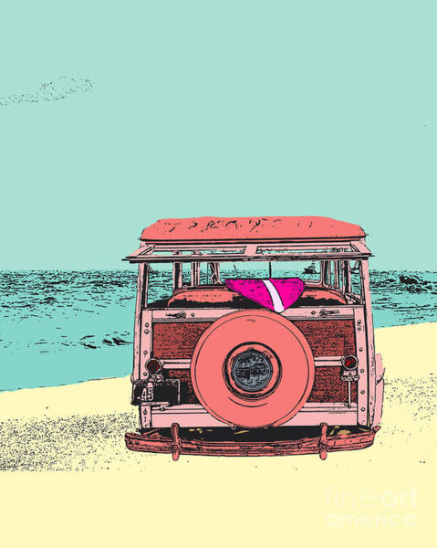 Ford Van Photograph - Woody At The Beach 2 by Emily Kay