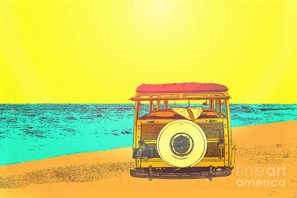 Ford Van Photograph - Woody At The Beach by Emily Kay