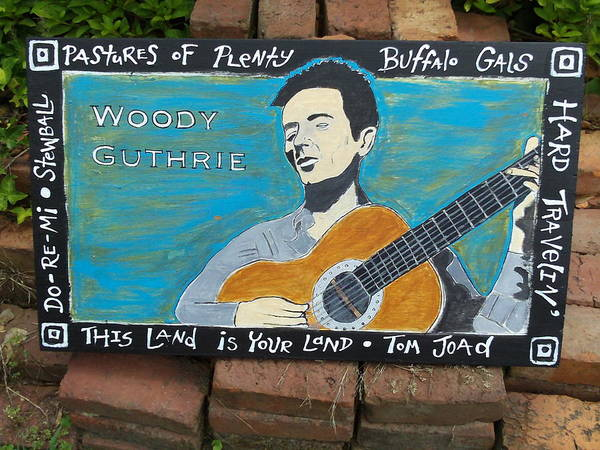 Mojo Painting - Woody Guthrie by Mojo Goat