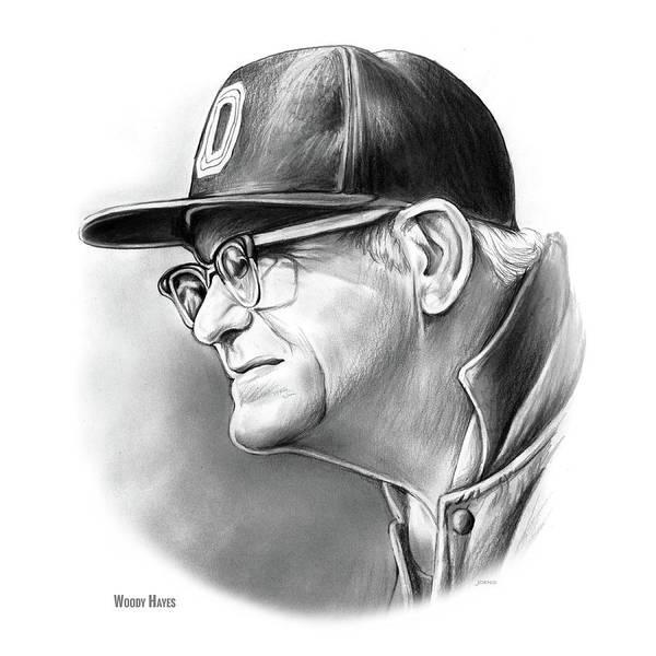 Drawing - Woody Hayes by Greg Joens