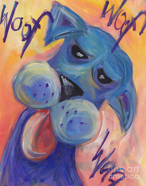 Wall Art - Painting - Woof Woof Wag by Robin Wiesneth